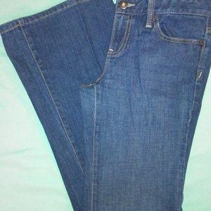Loft Modern Flare Med Wash Jeans Snap Back Pocket